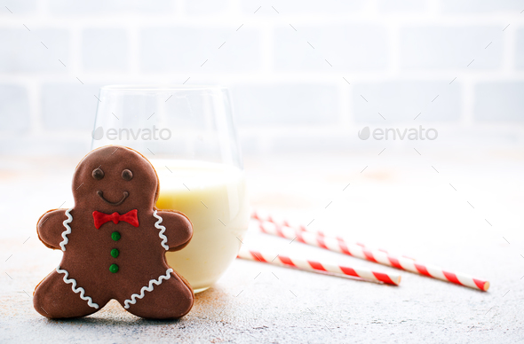 gingerbread with milk - Stock Photo - Images