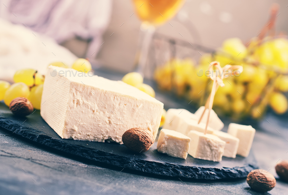 wine,grape and cheese - Stock Photo - Images
