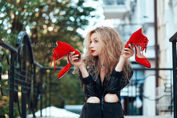 Young beautiful stylish girl posing - Stock Photo - Images