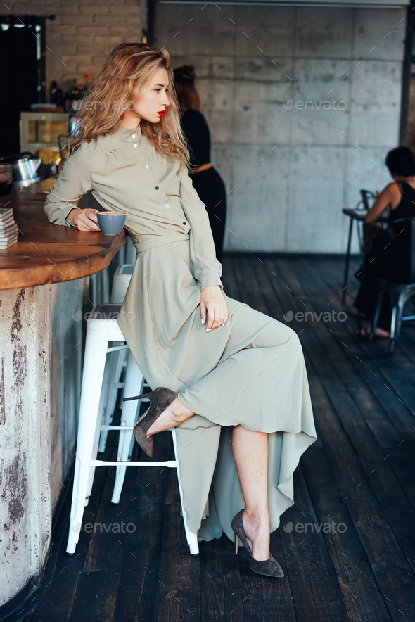 beautiful young girl in a long dress - Stock Photo - Images