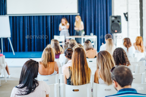 Abstract blur people lecture in seminar room - Stock Photo - Images