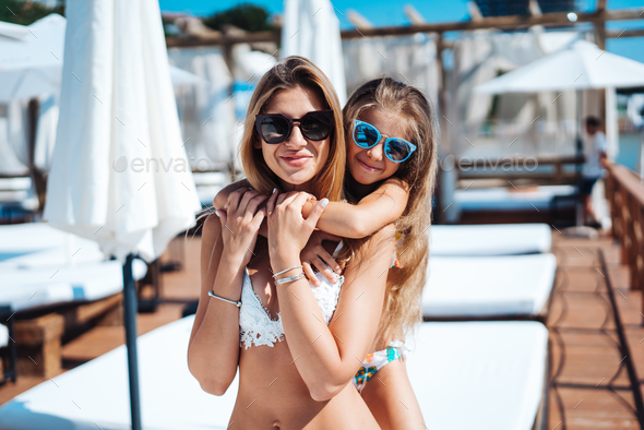 Mom and daughter on vacation - Stock Photo - Images