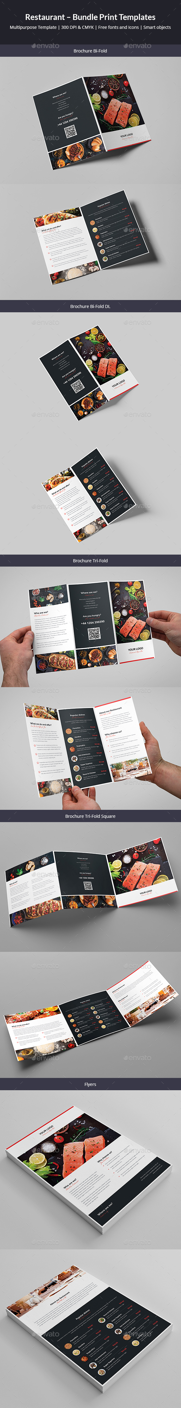 GraphicRiver Restaurant Bundle Print Templates 5 in 1 21095552