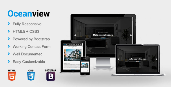 Download Oceanview - Hotel HTML Template            nulled nulled version