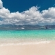 Tropical Island and Azure Beach with Sky and Clouds on Gili Island, Indonesia - VideoHive Item for Sale