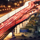 Traffic jam on automobile overpass at night - PhotoDune Item for Sale