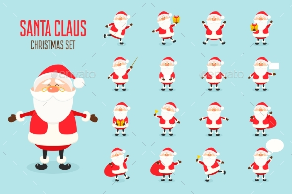 Santa Claus Icons Set in Flat Style - Christmas Seasons/Holidays