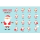 Santa Claus Icons Set in Flat Style