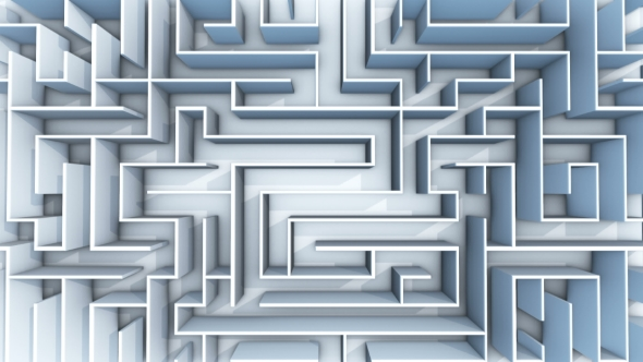 VideoHive Seamless Flight Over Endless Maze with Illuminated Blue Walls 21095863