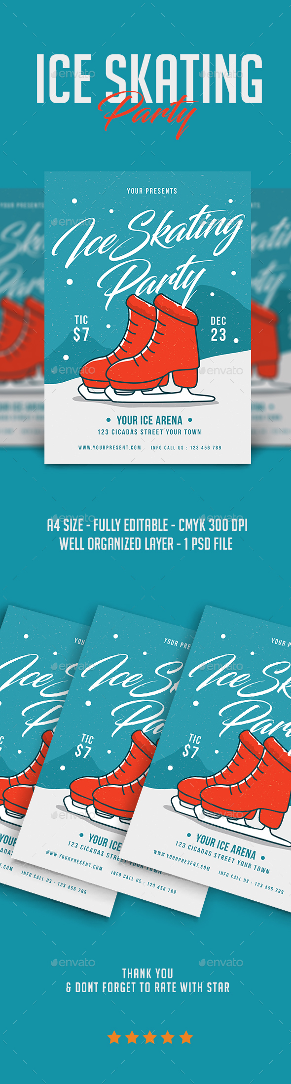 Ice Skating Party Flyer - Flyers Print Templates