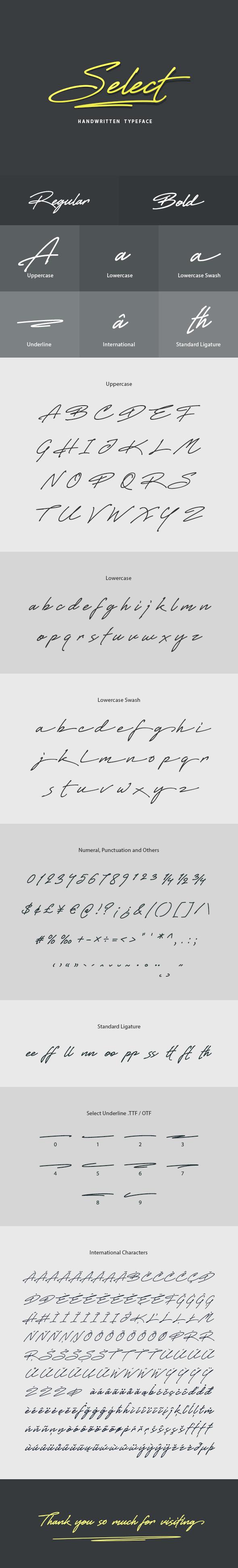 Select Handwritten Font - Hand-writing Script