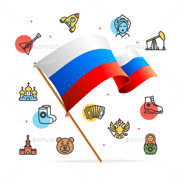 Russia Design Template Line Icon Concept and Flag - Travel Conceptual