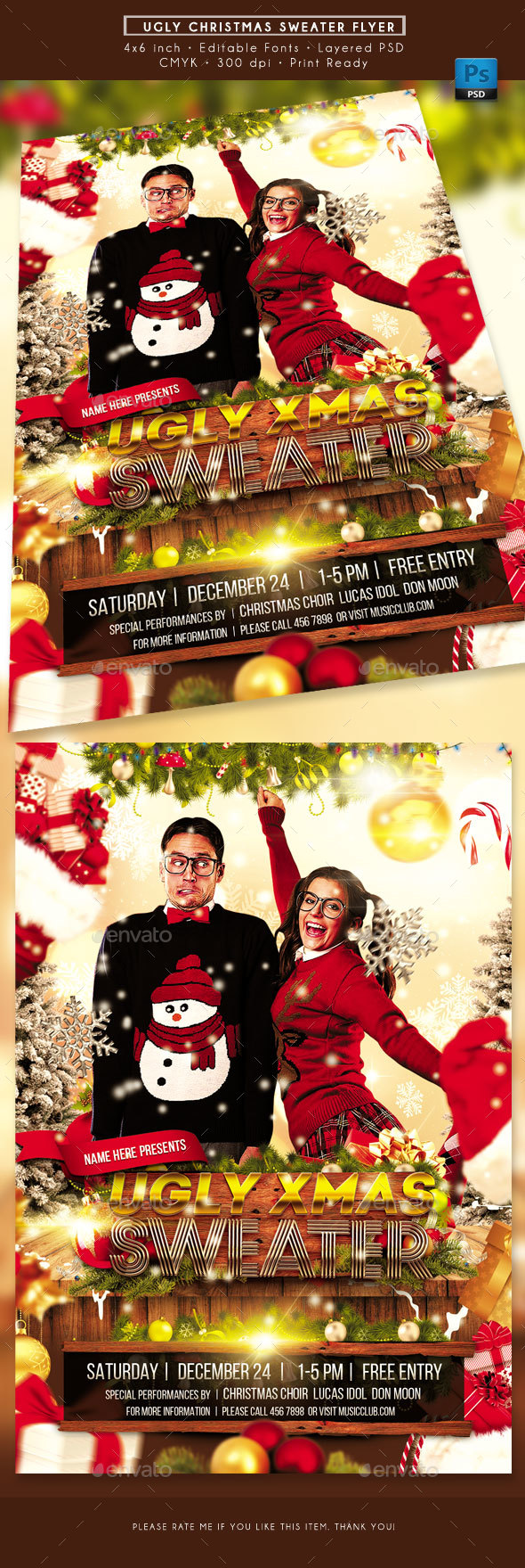 GraphicRiver Ugly Christmas Sweater Party Flyer 21096448
