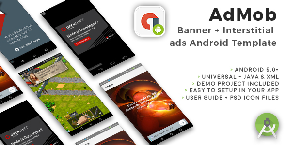 Android Universal AdMob Banner + Interstitial Ads Template - CodeCanyon Item for Sale