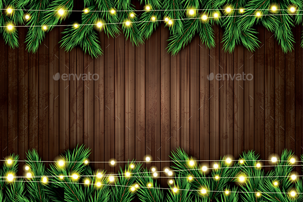 Fir Branch with Neon Lights on Wooden Background - Christmas Seasons/Holidays