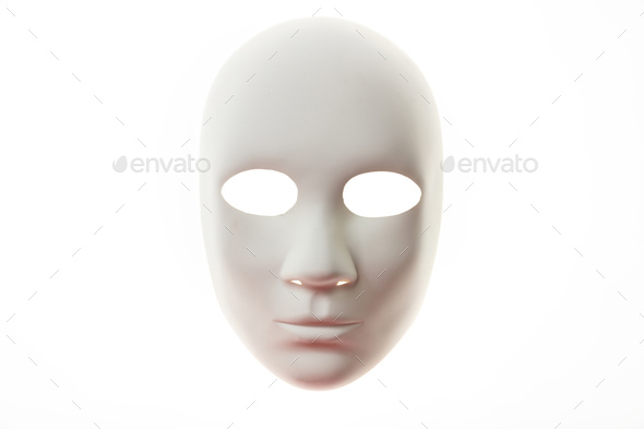 White carnival mask isolated on white background - Stock Photo - Images