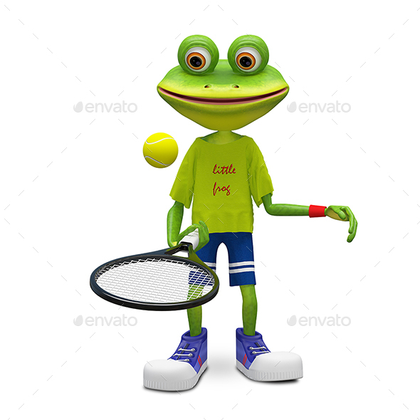 3D Illustration Frog with Tennis Racket - Characters 3D Renders