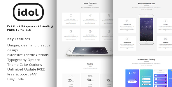 Idol - Creative Responsive Landing Page Template - Landing Pages Marketing mozfry | product landing template (landing pages) Mozfry | Product Landing Template (Landing Pages) 01 preview 590x300 idol