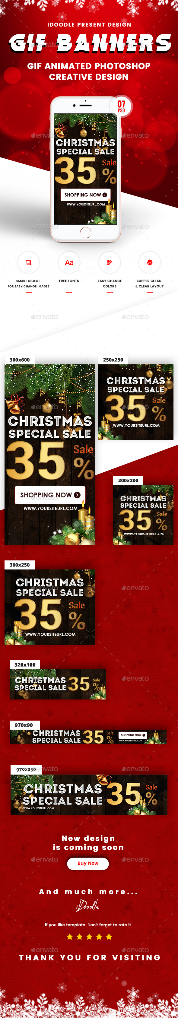 Animated GIF Christmas Banners Ad - Banners & Ads Web Elements