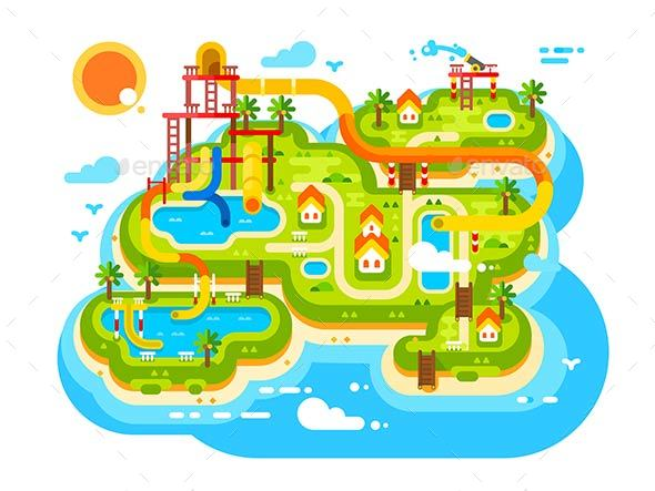 GraphicRiver Aquapark Plan with Water Slides 21096701