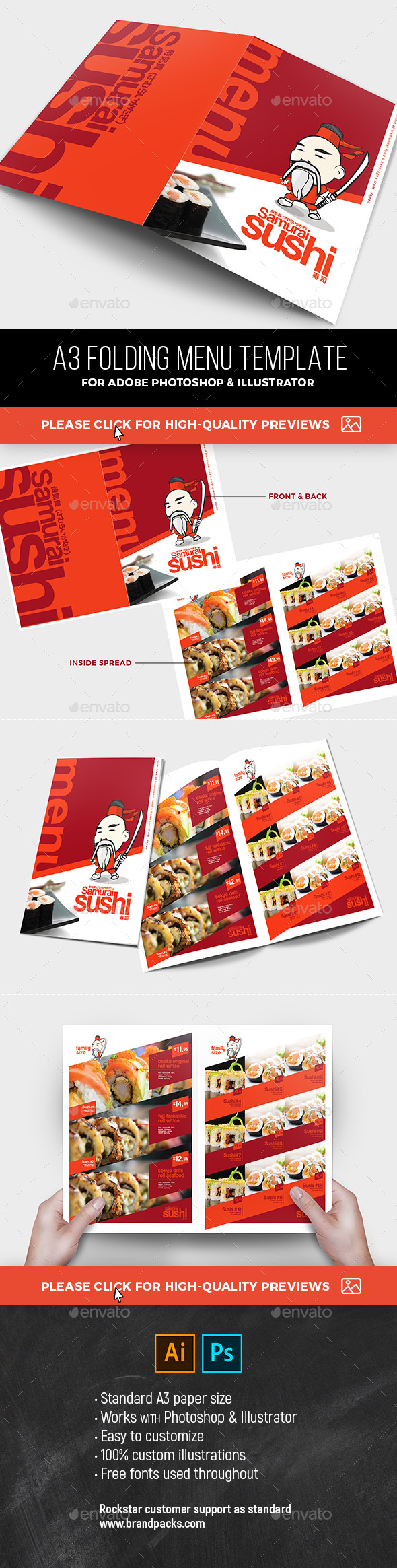 A3 Sushi Menu Template - Food Menus Print Templates