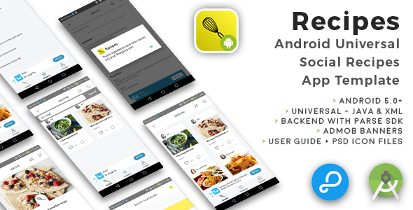 Recipes | Android Universal Social Recipes App Template - CodeCanyon Item for Sale
