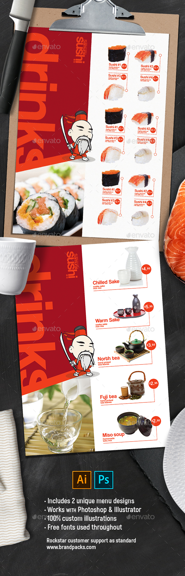 A4 Sushi Menu Templates - Food Menus Print Templates