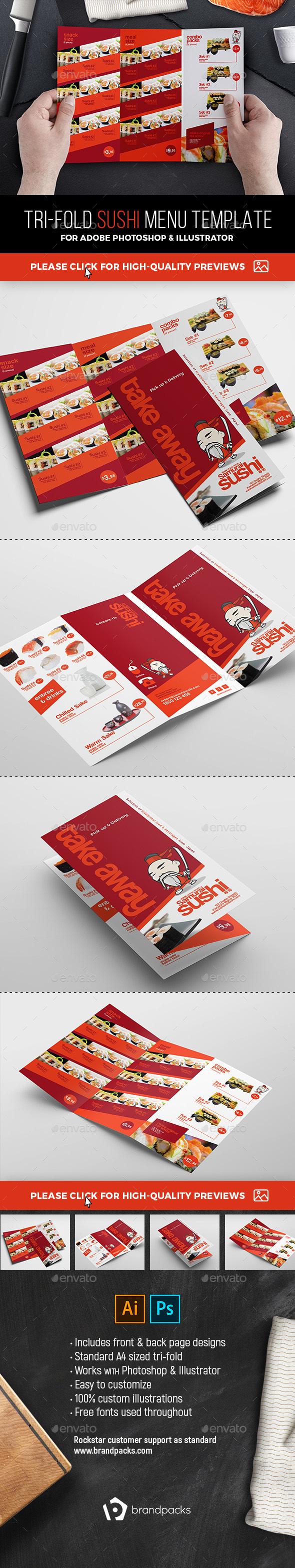 Tri-Fold Sushi Menu Template - Food Menus Print Templates
