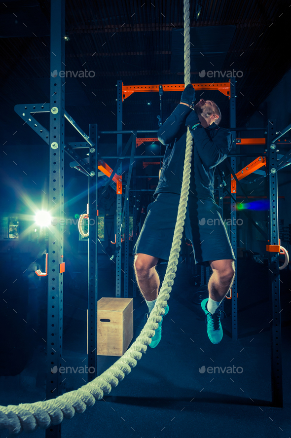 Crossfit athlete with a rope - Stock Photo - Images