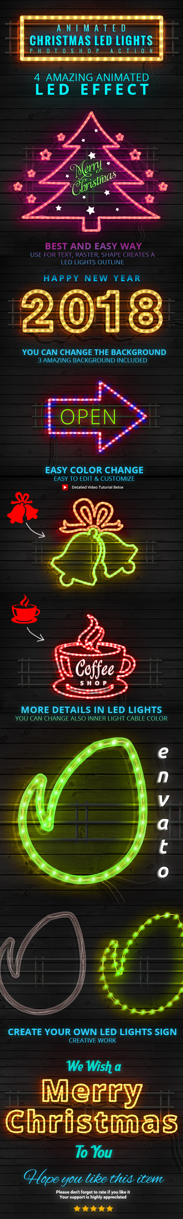 Animated Christmas LED Lights Rope Action - Actions Photoshop