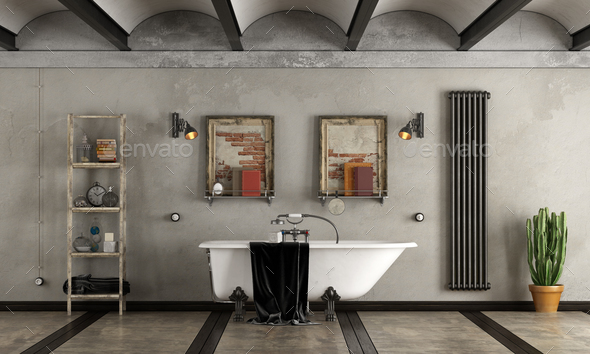 Bathroom in industrial style with bathtub - Stock Photo - Images
