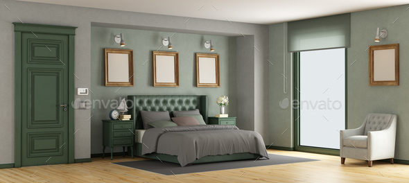 Green classic master bedroom - Stock Photo - Images