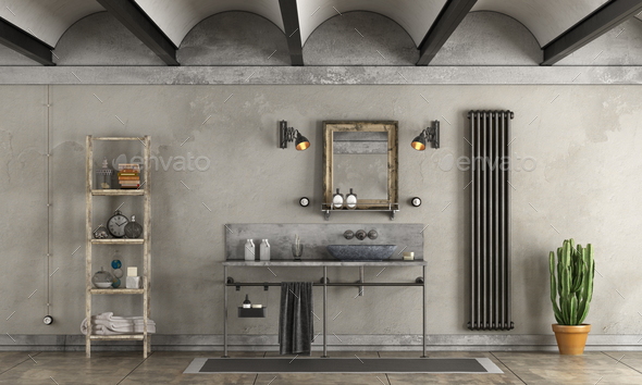 Bathroom in industrial style - Stock Photo - Images