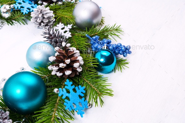 Christmas wreath with felt snowflakes, blue, turquoise baubles - Stock Photo - Images