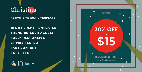 ThemeForest Christina Responsive Christmas Email Bundle & StampReady Builder 21010247