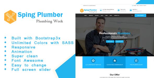 ThemeForest Sping Plumber Construction and Plumber HTML Template 20655575