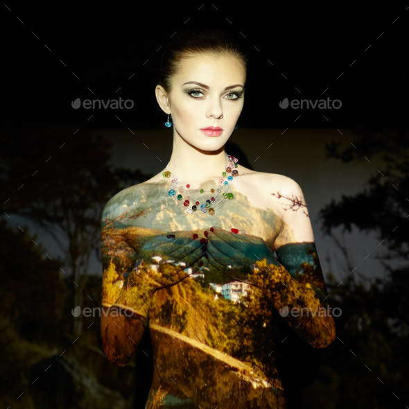 Fashion art portrait of beautiful women - Stock Photo - Images