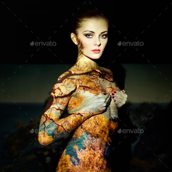 Fashion art portrait of beautiful women - Stock Photo - Images