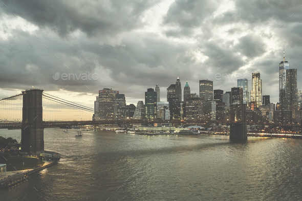 Retro stylized picture of Manhattan at dusk, USA. - Stock Photo - Images