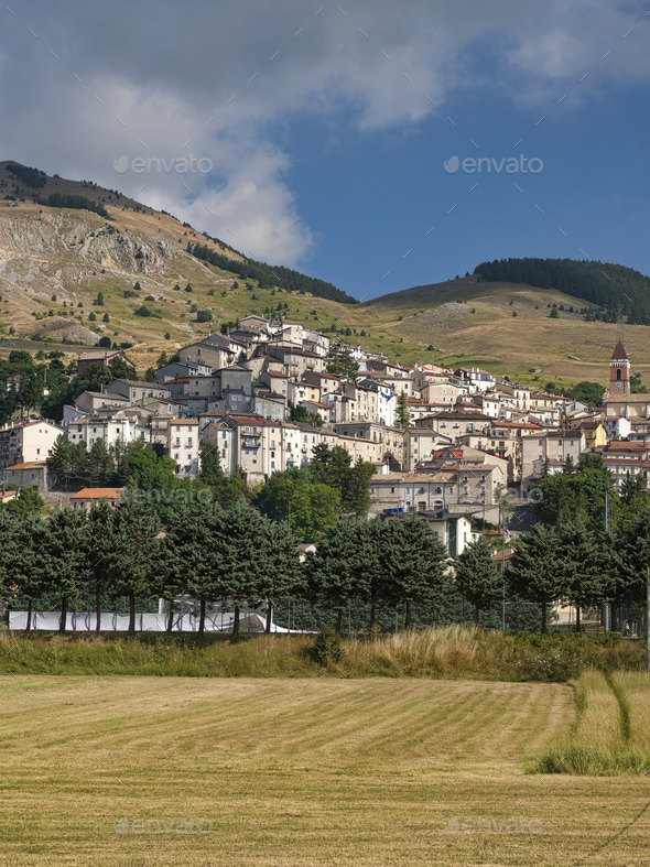 Rivisondoli (Abruzzi) by morning - Stock Photo - Images