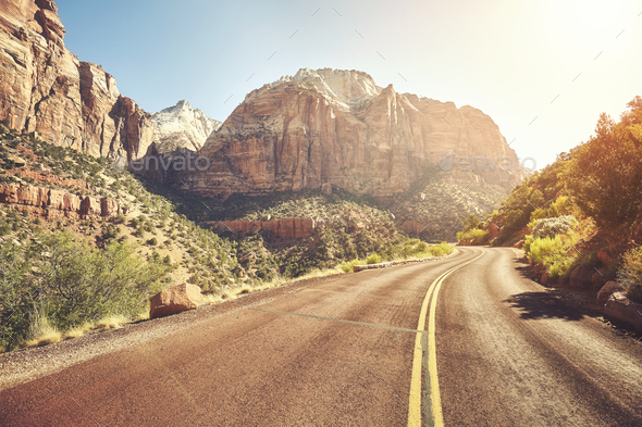 Scenic road at sunset, travel concept, USA. - Stock Photo - Images