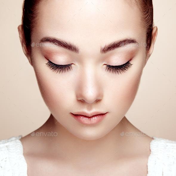 Beautiful woman face. Perfect makeup - Stock Photo - Images