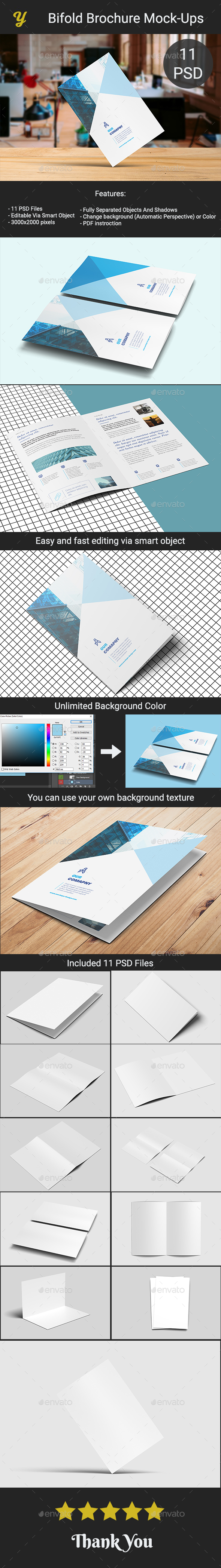 GraphicRiver Bifold Brochure Mock-Ups 21097764