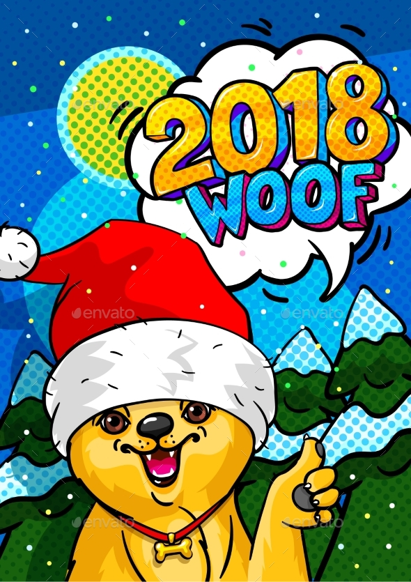 GraphicRiver Dog in Santa Claus Hat with Open Mouth and Speech 21097882