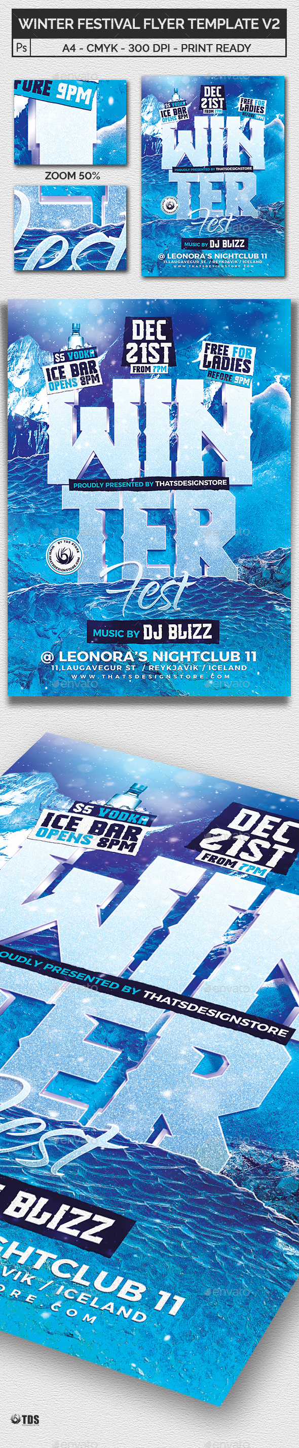 Winter Festival Flyer Template V2 - Clubs & Parties Events