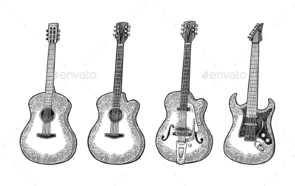Acoustic and Electric Guitar - Miscellaneous Vectors