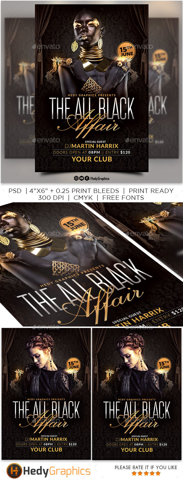 The All Black Affair Flyer - Clubs & Parties Events