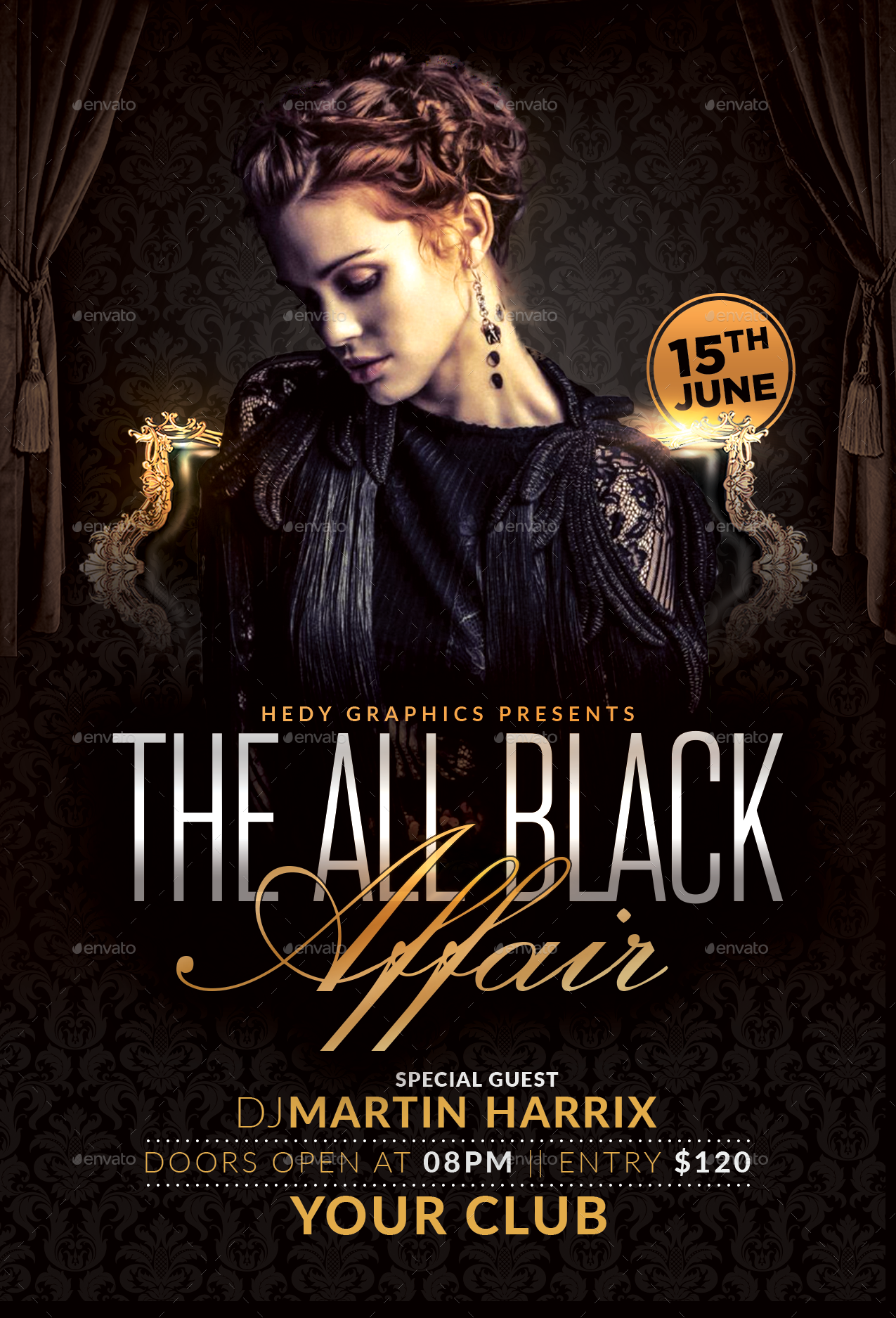 the all black affair flyer by hedygraphics graphicriver