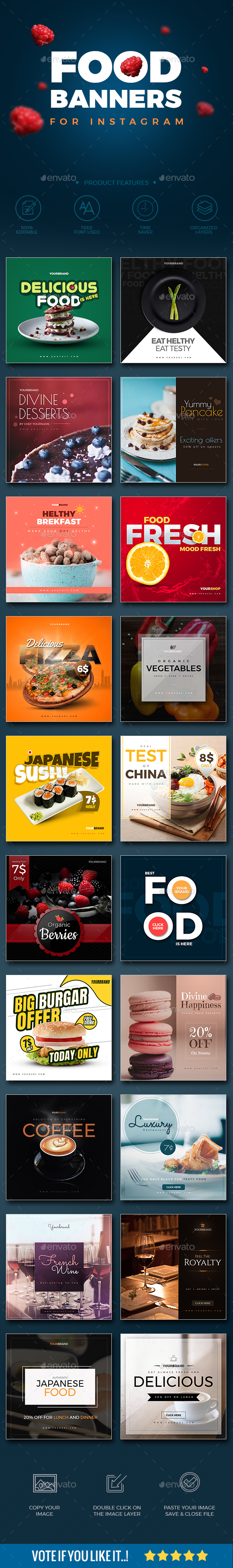 GraphicRiver 20 Food Instagram Banners 21098162