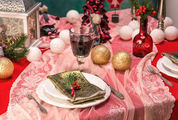 Beautiful Christmas table setting with decorations - Stock Photo - Images